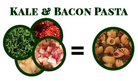 Kale & Bacon Pasta via Food, Booze, & Baggage