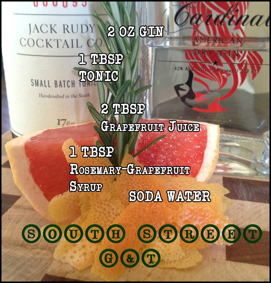South Strett G&T-Rosemary Grapefruit Gin and Tonic via Food, Booze, & Baggage