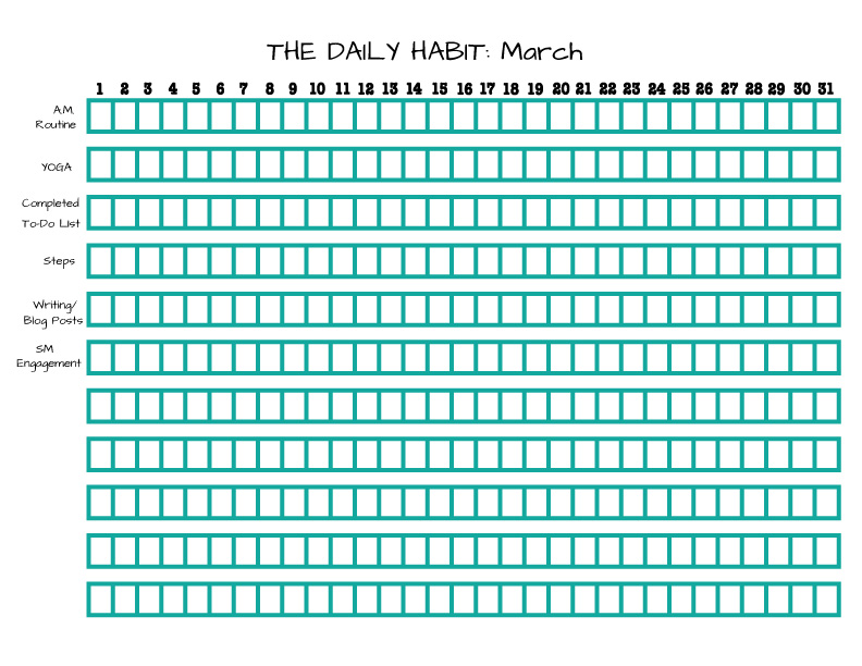 Daily Habit Tracker for March